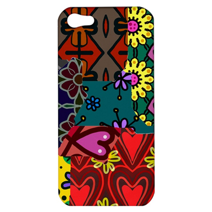 Digitally Created Abstract Patchwork Collage Pattern Apple iPhone 5 Hardshell Case