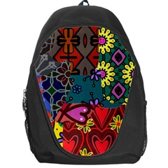 Digitally Created Abstract Patchwork Collage Pattern Backpack Bag