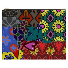 Digitally Created Abstract Patchwork Collage Pattern Cosmetic Bag (xxxl)