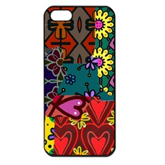 Digitally Created Abstract Patchwork Collage Pattern Apple Iphone 5 Seamless Case (black)