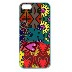 Digitally Created Abstract Patchwork Collage Pattern Apple Seamless Iphone 5 Case (color)
