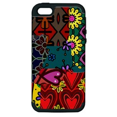 Digitally Created Abstract Patchwork Collage Pattern Apple Iphone 5 Hardshell Case (pc+silicone)