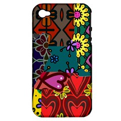 Digitally Created Abstract Patchwork Collage Pattern Apple Iphone 4/4s Hardshell Case (pc+silicone)