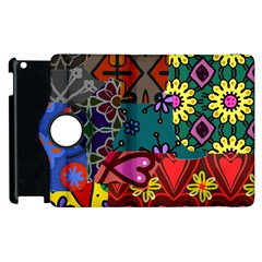 Digitally Created Abstract Patchwork Collage Pattern Apple Ipad 2 Flip 360 Case
