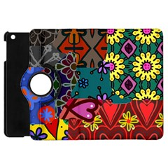 Digitally Created Abstract Patchwork Collage Pattern Apple Ipad Mini Flip 360 Case