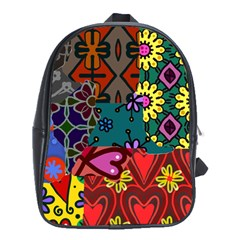 Digitally Created Abstract Patchwork Collage Pattern School Bags (XL)
