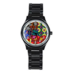 Digitally Created Abstract Patchwork Collage Pattern Stainless Steel Round Watch
