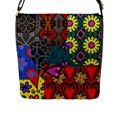 Digitally Created Abstract Patchwork Collage Pattern Flap Messenger Bag (l)