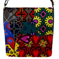 Digitally Created Abstract Patchwork Collage Pattern Flap Messenger Bag (s)