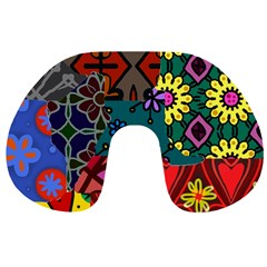 Digitally Created Abstract Patchwork Collage Pattern Travel Neck Pillows