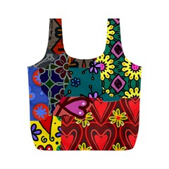 Digitally Created Abstract Patchwork Collage Pattern Full Print Recycle Bags (M)