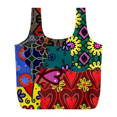 Digitally Created Abstract Patchwork Collage Pattern Full Print Recycle Bags (L)