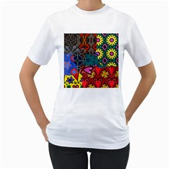 Digitally Created Abstract Patchwork Collage Pattern Women s T Shirt (white)