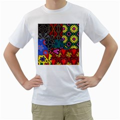 Digitally Created Abstract Patchwork Collage Pattern Men s T Shirt (white)