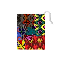 Digitally Created Abstract Patchwork Collage Pattern Drawstring Pouches (Small)