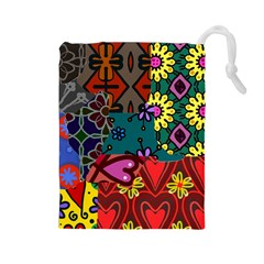 Digitally Created Abstract Patchwork Collage Pattern Drawstring Pouches (Large)