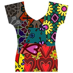 Digitally Created Abstract Patchwork Collage Pattern Women s V-Neck Cap Sleeve Top