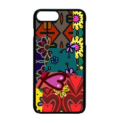 Digitally Created Abstract Patchwork Collage Pattern Apple Iphone 7 Plus Seamless Case (black)