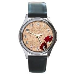 Retro Background Scrapbooking Paper Round Metal Watch