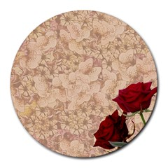 Retro Background Scrapbooking Paper Round Mousepads