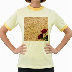 Retro Background Scrapbooking Paper Women s Fitted Ringer T Shirts