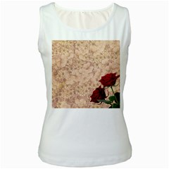 Retro Background Scrapbooking Paper Women s White Tank Top