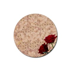 Retro Background Scrapbooking Paper Rubber Round Coaster (4 pack)