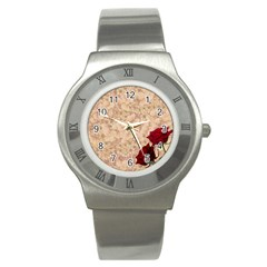 Retro Background Scrapbooking Paper Stainless Steel Watch