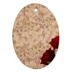 Retro Background Scrapbooking Paper Oval Ornament (two Sides)