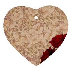 Retro Background Scrapbooking Paper Heart Ornament (two Sides)