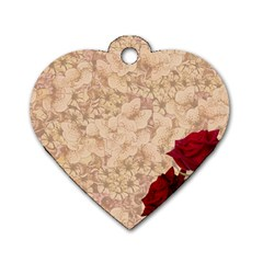 Retro Background Scrapbooking Paper Dog Tag Heart (One Side)