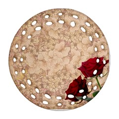 Retro Background Scrapbooking Paper Round Filigree Ornament (two Sides)