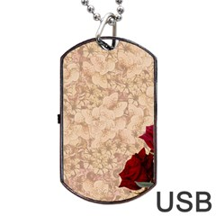 Retro Background Scrapbooking Paper Dog Tag USB Flash (One Side)
