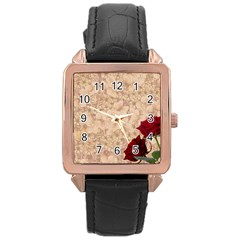 Retro Background Scrapbooking Paper Rose Gold Leather Watch