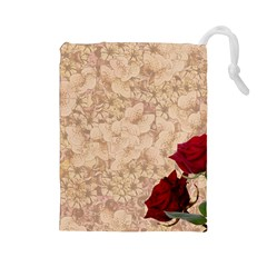 Retro Background Scrapbooking Paper Drawstring Pouches (large)