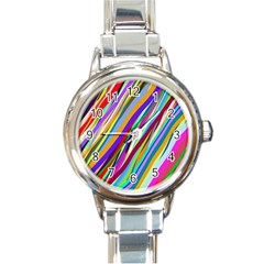 Multi Color Tangled Ribbons Background Wallpaper Round Italian Charm Watch