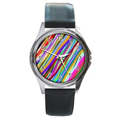 Multi Color Tangled Ribbons Background Wallpaper Round Metal Watch
