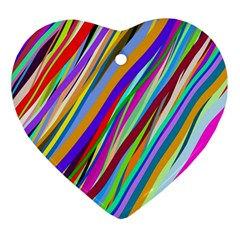 Multi Color Tangled Ribbons Background Wallpaper Ornament (Heart)