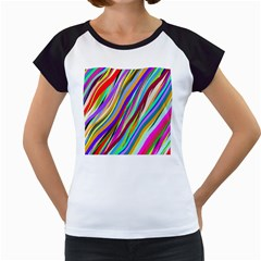Multi Color Tangled Ribbons Background Wallpaper Women s Cap Sleeve T
