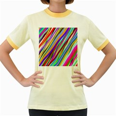 Multi Color Tangled Ribbons Background Wallpaper Women s Fitted Ringer T Shirts