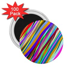 Multi Color Tangled Ribbons Background Wallpaper 2 25  Magnets (100 Pack)