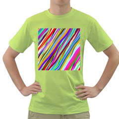 Multi Color Tangled Ribbons Background Wallpaper Green T-Shirt