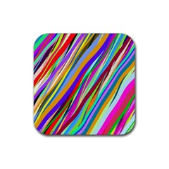 Multi Color Tangled Ribbons Background Wallpaper Rubber Square Coaster (4 Pack)