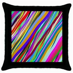 Multi Color Tangled Ribbons Background Wallpaper Throw Pillow Case (black)
