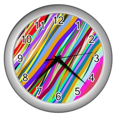 Multi Color Tangled Ribbons Background Wallpaper Wall Clocks (silver)