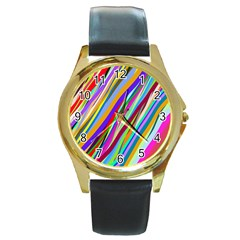 Multi Color Tangled Ribbons Background Wallpaper Round Gold Metal Watch