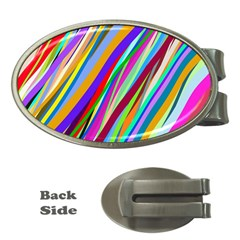 Multi Color Tangled Ribbons Background Wallpaper Money Clips (oval)
