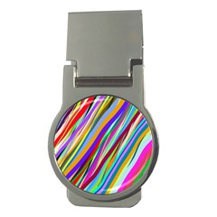 Multi Color Tangled Ribbons Background Wallpaper Money Clips (Round)
