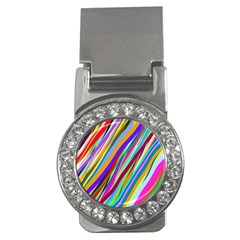 Multi Color Tangled Ribbons Background Wallpaper Money Clips (cz)