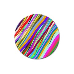 Multi Color Tangled Ribbons Background Wallpaper Magnet 3  (round)